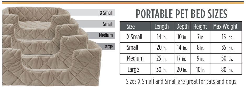 Pet bed size chart
