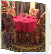 Ballad Bouquet Long Dining chair covers in crimson